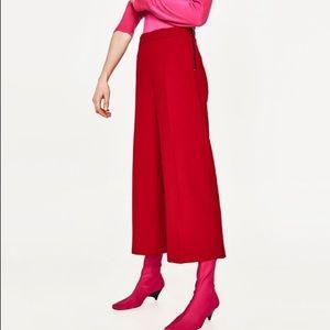 ZARA red wide leg culotte with side zip